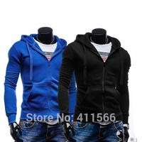 2015 New Men's Solid Color Casual Drawstring Hooded Hoodies Slim Fit Zipper Placket Cardigan Sweatshirt Short Coat Free Shipping