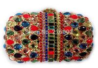 Ladies colorful rhinestone and crystal wedding bag in 3 colors. Female fashion evening clutch bag with rhinestone.