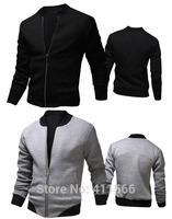 Men's 2015 Korean Tide New Arrival Spring Round Collar Jacket Rib Splice Slim Fit Sport Casual Short Coat 3 Colors Free Shipping