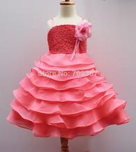 The Condole belt Princess Dresses Girls Watermelon Party Dresses a big Flowers Girls Wedding Dress 10pcs