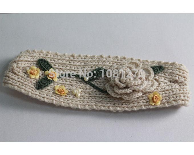 White Flower Knit Headband,Cute Headband,Earwarmer,Hair Accessories,Head wrap,headband pattern,Fall and winter hair accessory(China (Mainland))