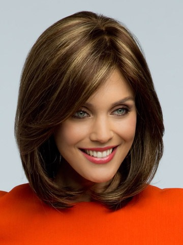 Sexy Bob Synthetic hair wigs Medium Long Straight Brown Wig for women ...