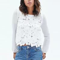 2015 Ladies Spring Chiffon Blouse White Shirt Lace Crochet Flower Patchwork Shirt Long Sleeve Round Sweet Chiffon Camisa GD0127
