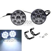 B39 2015-hot-selling Round Driving Running Light DRL Car Fog Lamp Head Light White 2X Daytime 9-LED  free shipping