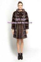 BG70810 Women's Genuine Mink Fur Coat Vertical & Horizontal Stripes  Long Style Ladies' Winter Warm Fashion Choice