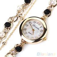 Women's Geneva Luxury Faux Pearl Flower Bracelet Quartz Analog Dress Wrist Watch