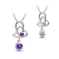Newest design 925 sterling silver AAA  zircon duoble heart pendant necklaces cute party jewelry for women and men free shipping