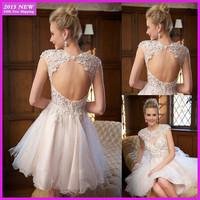Designer Custom A-line Sexy Open Back Beading Appliques White Organza Short Cocktail Dresses Party Dresses vestidos 2015 MR-002