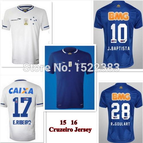 Cruzeor 15 16 Jersey Cruzeiro 2015 soccer Jersey home blue away white camisa Jersey M.MORENO E.RIBEIRO J.BAPTISTA football shirt(China (Mainland))