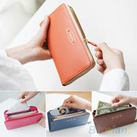Women Coin Card Phone Holder Clutch Purse Faux Leather Zip Long Handbag Wallet