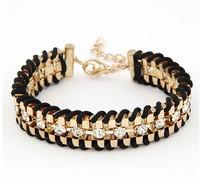 New fashion jewelry rhinestone chain link rope Weave charm bracelet gift for women ladies