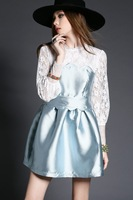 Free ship 2015 fashion lace elegant slim pacthwork full-sleeve women cute dress t2749 casual dress wholesale va1845