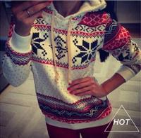 Free Shipping 2015 Women Hoody Spring Autumn Sportwear Snowflake Print Fleece French Terry Sweatshirt Women Hoodies