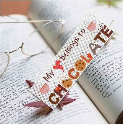 Genuine 101 bookmarks I love chocolate DMC embroidered cross stitch(China (Mainland))