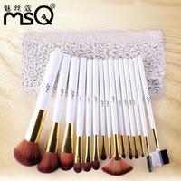 MSQ 15pcs/set   professional complete Printing Roman amorous feelings of makeup brush sets+eye cosmetics brush kit Portable bag