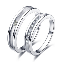 2015 New Arrival real diamond 18K white gold wedding bands 0.20 ct women ring & 0.07 ct men ring