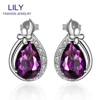 FVRE012 New Style Fashion Amethyst Jewelry Christmas Gift Zircon Stud Earrings Platinum Plated Purple Big Crystal Earring