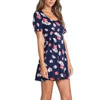 2015 Women Fashionable Dress Flower Printed Party Dress Short Sleeve Round Neck Elegant Club Dress GD0134