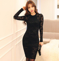 2015 New Fashion Women's Black Lace Dresses Long Sleeves Retro Sexy Backless Tight Hip Ladies Female Slim Dresses