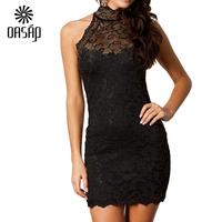 OASAP Women Black Vestido Vintage Mini Dress  Sexy Party Halter Neck Lace  Dress Tropical Club Dresses