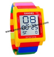 100pcs/lot,Modular Style Touch Screen Led Watch Multicolor Rainbow Block Wristwatch Digital LED Date Day Unisex Sport Watches