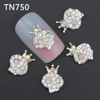 10Pcs Silver AB Skull Nail Tools Clear Rhinestones For Alloy Nails Glitters DIY 3D Nail Art Decorations TN750