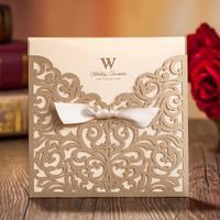 50 sets(Card+envelop+seal)Laser Cut Wedding Invitations Cards Engagement Gatefold Cutout Invites Ribbon 15*15cm Wedding Favours