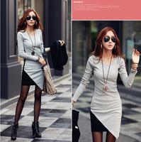 2014 Autumn Winter All-match contrast color cotton dress, women round neck long sleeve Asymmetric patchwork casual dress,dresses