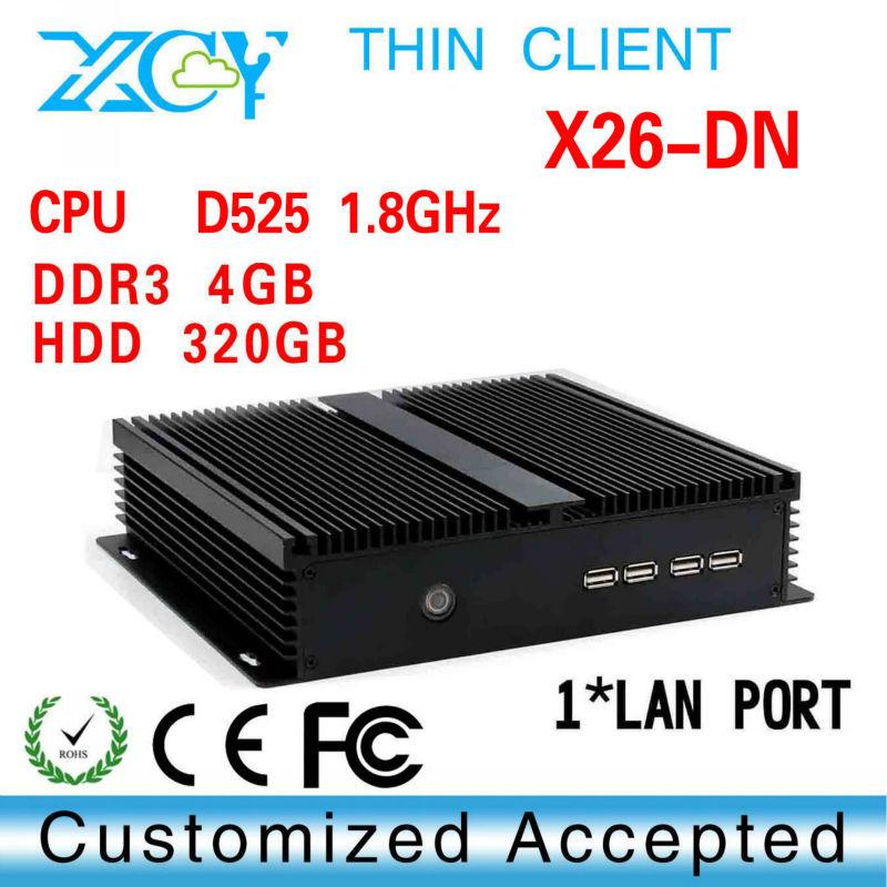mini desktop computer thin client pc wifi mini computer vga D525&n550 x26-DN 4GB RAM 320G HDD Windows XP thin client(China (Mainland))