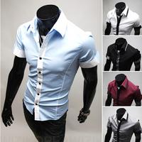 Free Shipping Men's Fashion Short-sleeved Shirt Slim Collar Shirt High Quality Unique Design Size M-xxl-9077