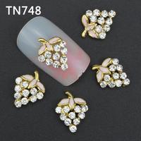 10Pcs Gold Tree Leaf Nail Tools Clear Rhinestones For Alloy Nails Glitters DIY 3D Nail Art Decorations TN748