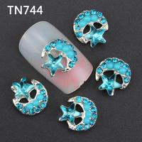 10Pcs Silver Blue Pentagram Moon Flowers Nail Tools Rhinestones For Alloy Nails Glitters DIY 3D Nail Art Decorations TN744