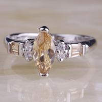 2015 New Fashion Champagne Morganite 925 Silver Ring Size 8 Romantic Women Fashion Jewelry Free Shipping Wholesale