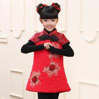 Child costume wadded jacket dress baby tang suit cheongsam medium-large female child dance clothes tank dress
