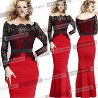 Women Fashion Red Party Dresses 2015 New Fall Spring Slim Bodycon Elegant Pencil Formal Elegant Dresses XXL
