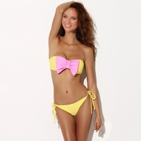 New Bikini Beach bow hit the color split Bra Bikini swimsuit steel prop Set Free Shipping