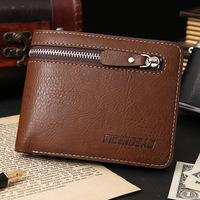 New arrival Vintage Leather Men's Wallet designer's Cowhide Purse zipper card wallet short wallet free shipping