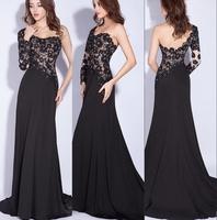 Elegant Long Sleeve Lace Prom Dresses 2015 vestidos de fiesta cortos Backless Black Evening Party Gowns
