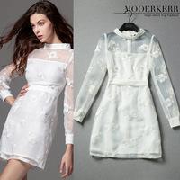 2015 Special Offer Sale Dress Vestidos Femininos Mooerkerr Big Spring And Summer Catwalk Fashion Hand-beaded Dress Wholesale