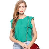 European roupas femininas women's Plus Size chiffon blouse short-sleeved t-shirt solid color chiffon shirt women clothing CS116