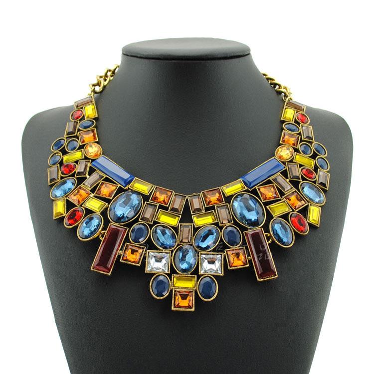 2014 New ZA Brand Acrylic Necklaces & Pendants Antique Collar Statement Necklace Women's Fashion Jewelry L089(China (Mainland))