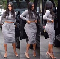 2015 New Summer Gray Two-piece Super Comfortable High Quality Soft Slim Sexy Fold Night Club Dress