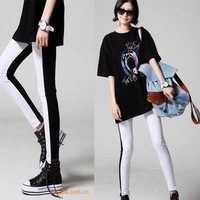 Free shipping AL010 Fashionable black and white mosaic trousers nine pants leggings