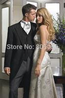2015 New Long Black Groom Tuxedos One Button Groomsman Wedding Suits for Men terno noivo (Jacket+Pants+Vest+Tie) S204