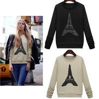 New 2015 Spring Warm Women Sweatshirt Embossed Printed Pullovers Fashion Casual Paris Tower Hoodies Moleton Coat Lady