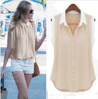 Fashion Cheap 2015 Women Shirts Spring Summer Chiffon Blouse Turn down Collar Sleeveless Shirt Pink Green Blouse Plus Size