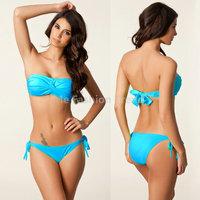 2015 Summer Women Girl Friend Sexy Push Up Bra With Halter Gift Padded Bikinis Beach Swim wear Fashion Biquini Bathing Swimsuits