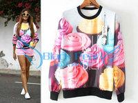 New Fashion 2014 Women The Cake Pullovers Funny 3D Sweatshirts Food Print Black Collar Plus Size Galaxy Sweaters Hoodies Top