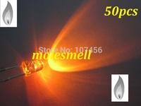 free shipping 50pcs 3mm Orange Candle Light Flicker Ultra Bright Flickering orange LED Leds 3mm water clear candle led