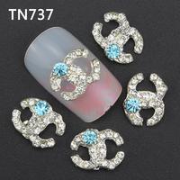 10Pcs Silver Letters Nail Tools Clear Rhinestones For Alloy Nails Glitters DIY 3D Nail Art Decorations TN737